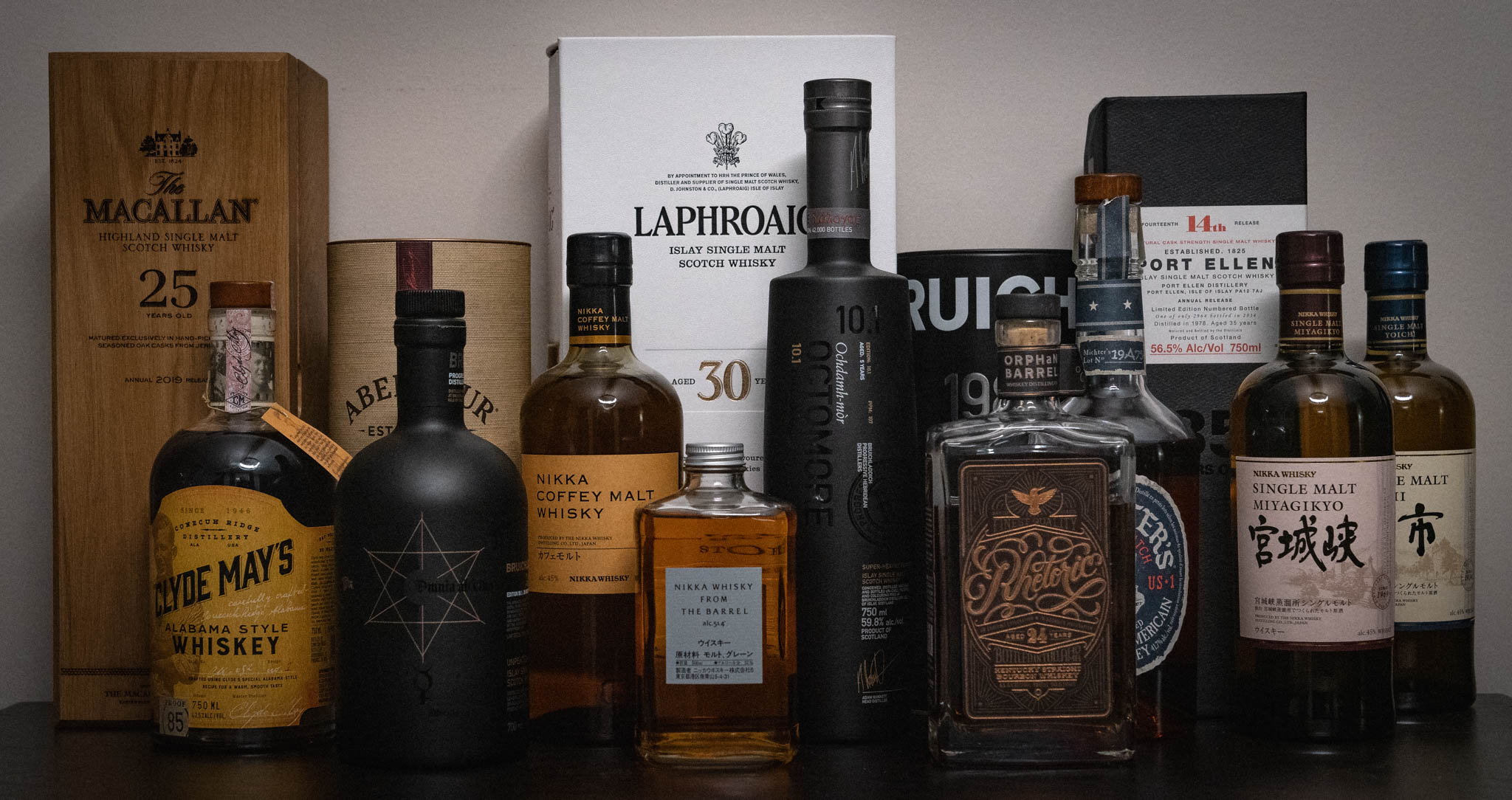 A collection of whiskies sitting on a shelf